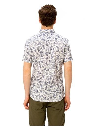 LC Waikiki Desenli Slim Fit Kısa Kollu Gömlek Beyaz